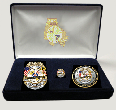 Baltimore County Auxiliary Police 75th Anniversary Badge, Coin, and Mini Badge Lapel Pin Set