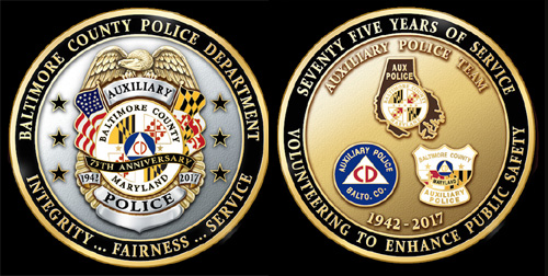 Baltimore County Auxiliary Police 75th Anniversary Challenge Coin
